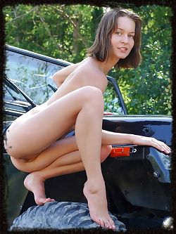 An naked exhibition with a daring cutie in a secluded, outdoor location.