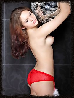 Intense brunette with medium breasts with nice nipples that seem to point up and an ass that keeps you up at night.